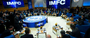 In this Oct. 19, 2019, file photo, members of the International Monetary and Financial Committee (IMFC) meet at the World Bank/IMF Annual Meetings in Washington.