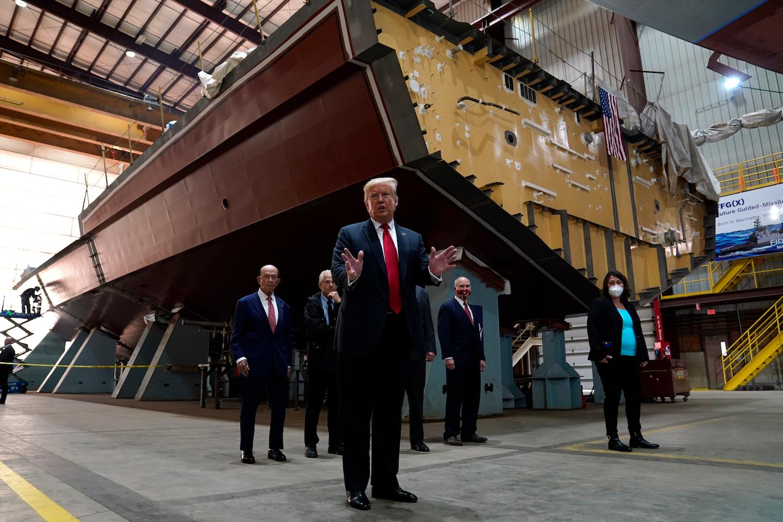 President Donald Trump speaks as he tours Fincantieri Marinette Marine on Thursday, June 25 in Marinette, WI